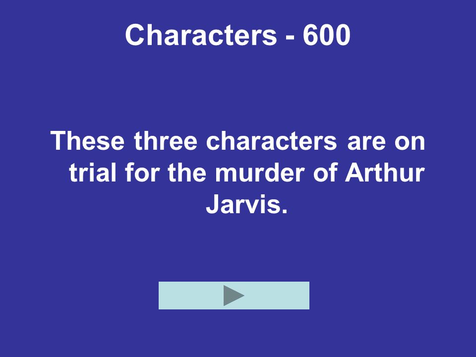 Characters - 600 These three characters are on trial for the murder of Arthur Jarvis.