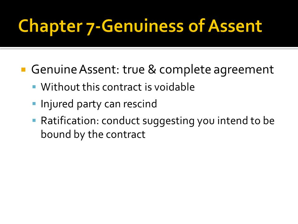 definition of genuine assent