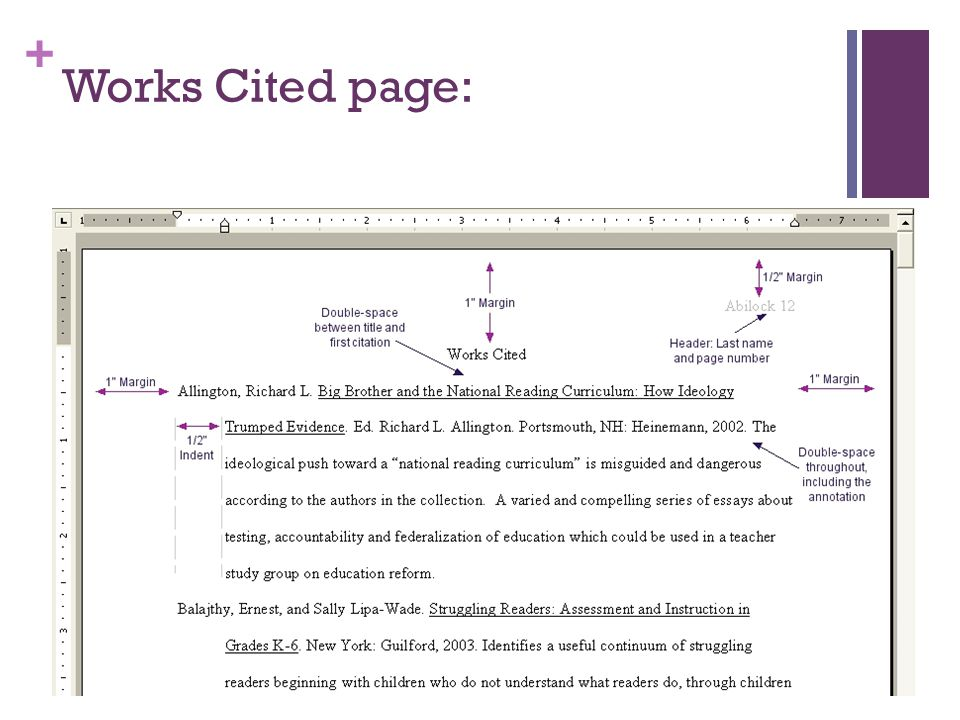 + Works Cited page: