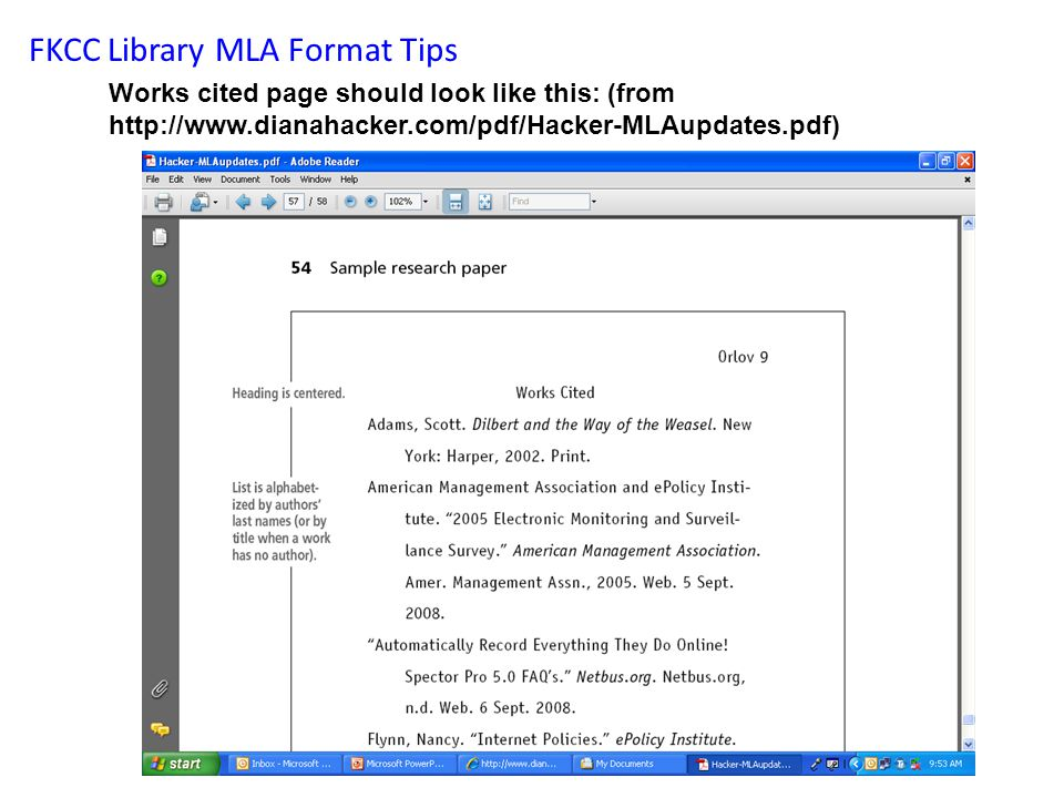 FKCC Library MLA Format Tips Works cited page should look like this: (from