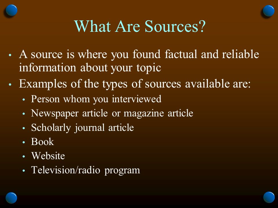 What Are Sources.