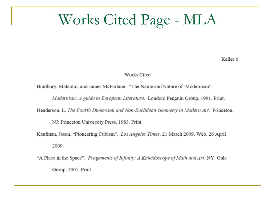 Works Cited Page - MLA