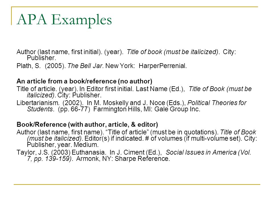 APA Examples Author (last name, first initial). (year).