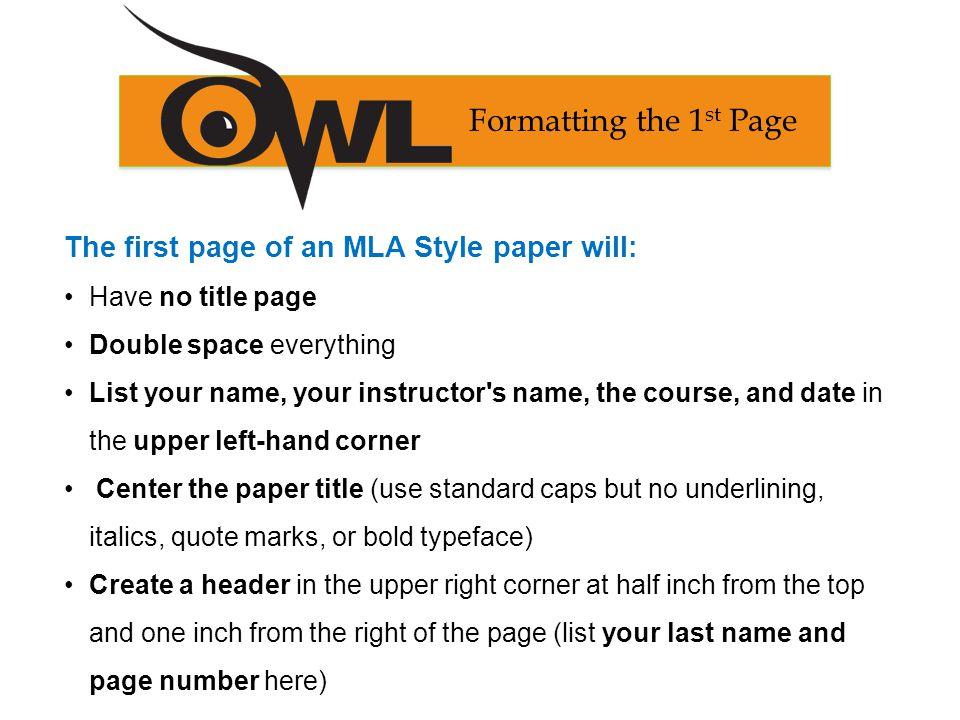 mla format paper title