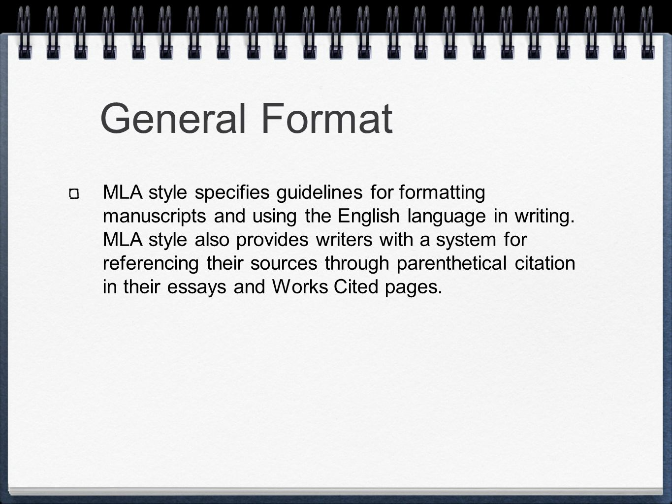 m l a formatting and style general format mla style specifies