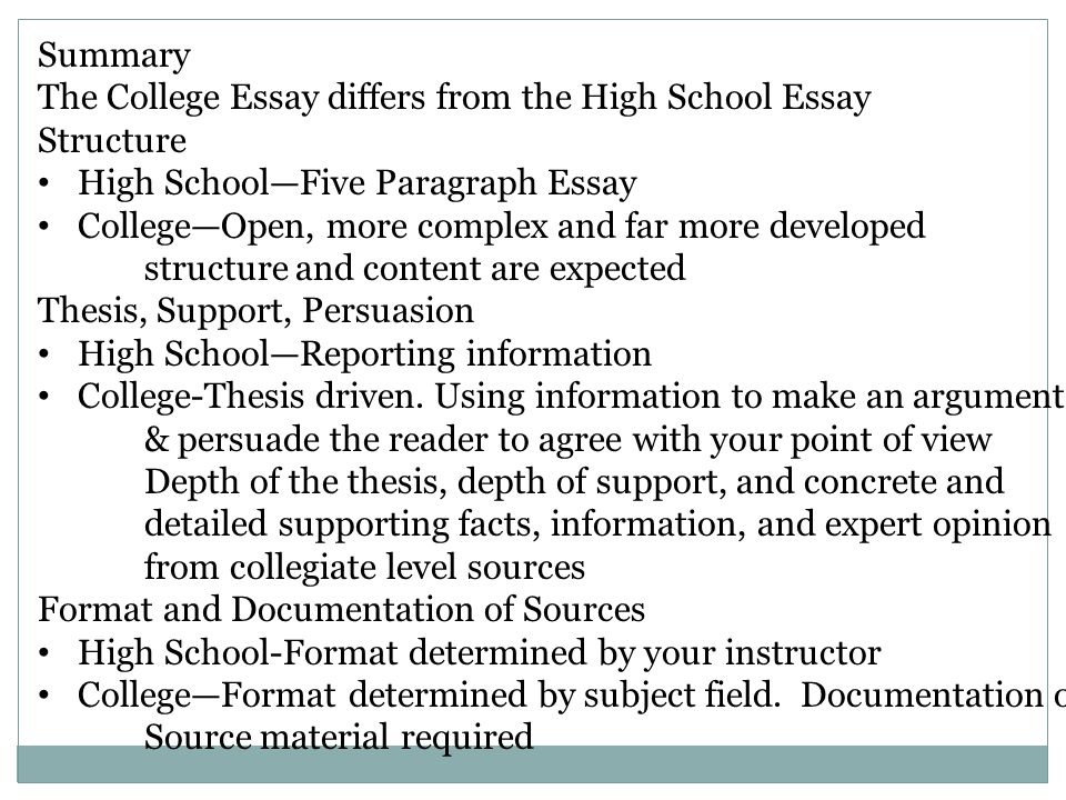 understanding your readers expectations the college essay prepared   essay structure high schoolfive paragraph essay collegeopen more  complex and far more developed structure and content are expected thesis  support