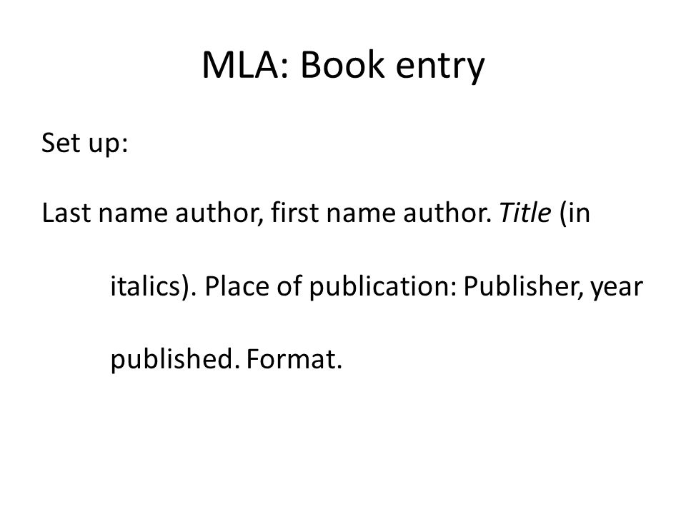 mla format set up