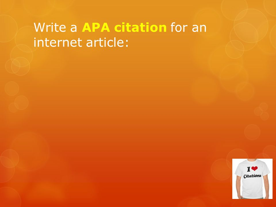 Write a APA citation for an internet article: