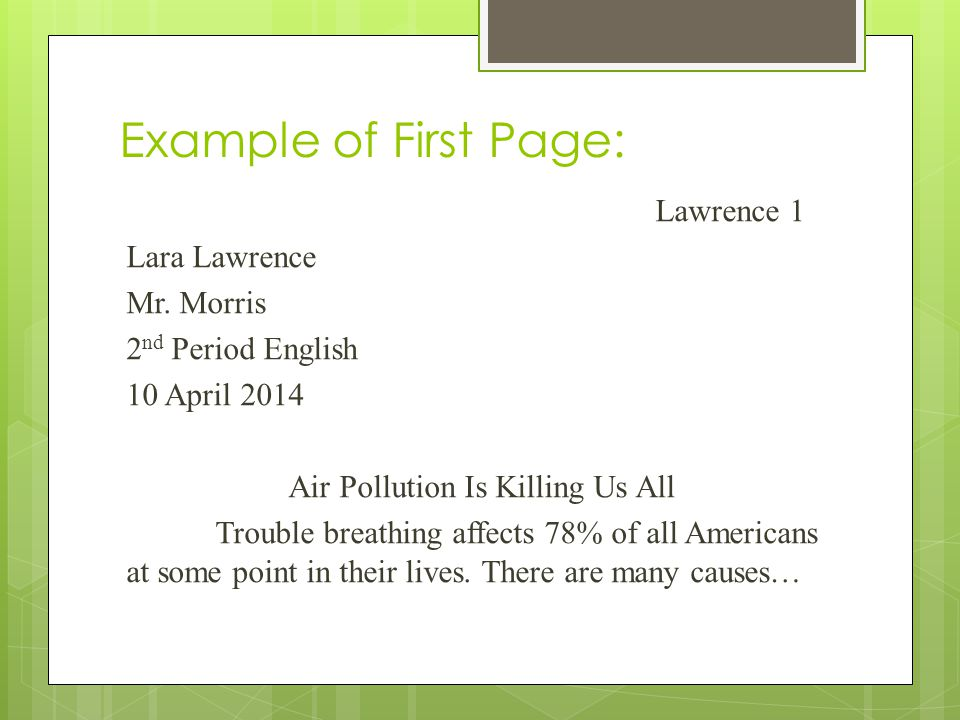 Example of First Page: Lawrence 1 Lara Lawrence Mr.