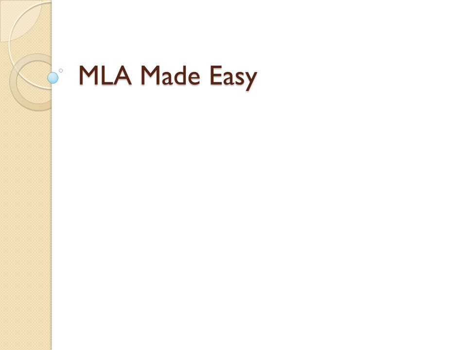 MLA Made Easy