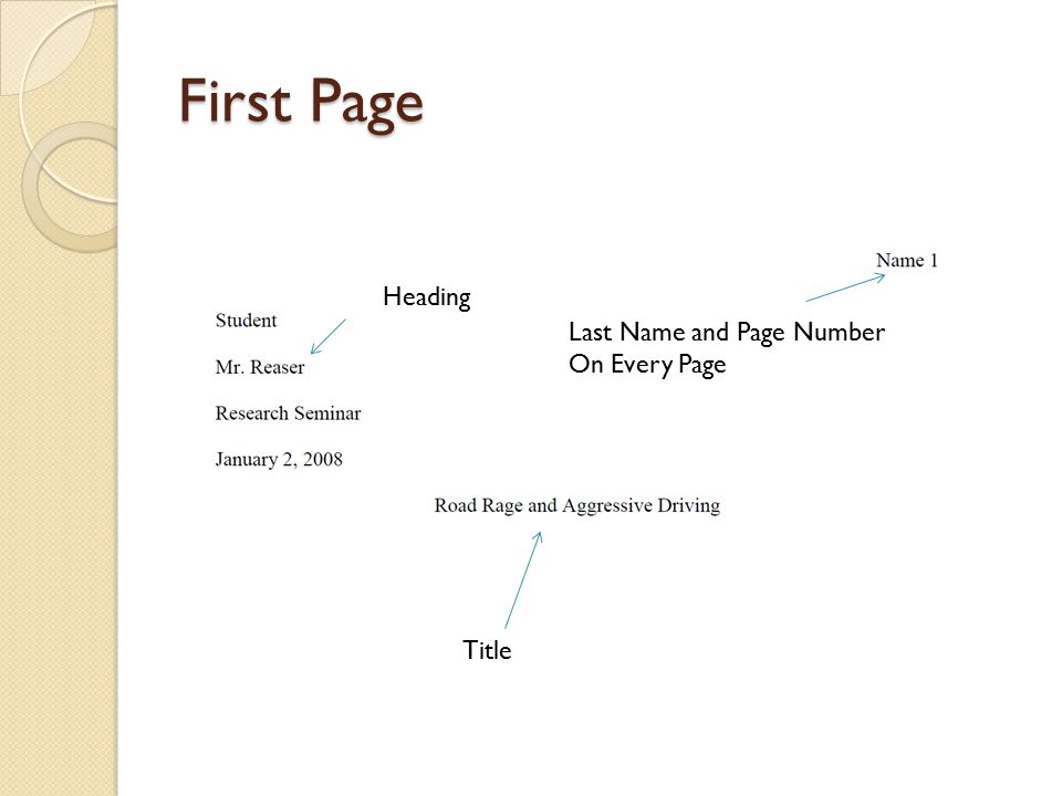 First Page Heading Last Name and Page Number On Every Page Title