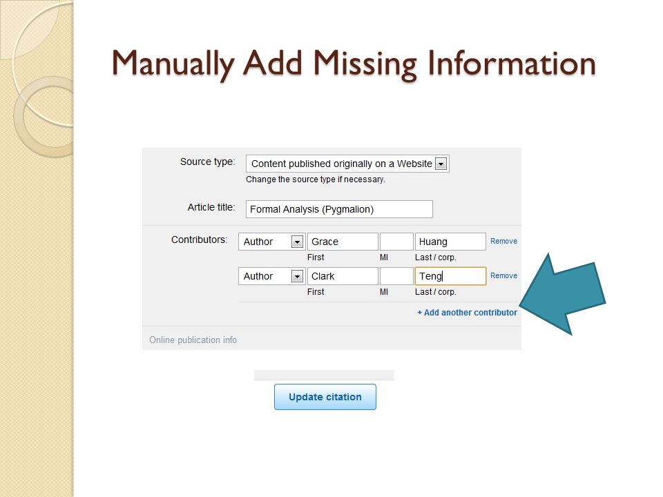 Manually Add Missing Information
