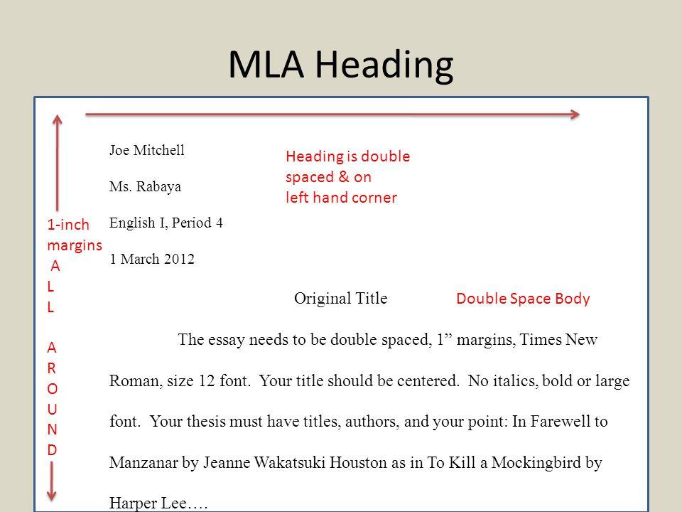 MLA Citations MLA Heading Joe Mitchell Ms Rabaya English I Period