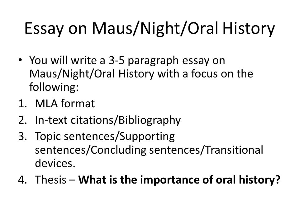 oral history essay thesis