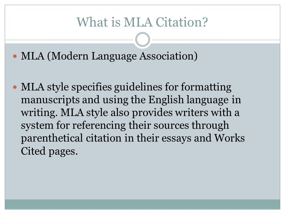 What is MLA Citation.