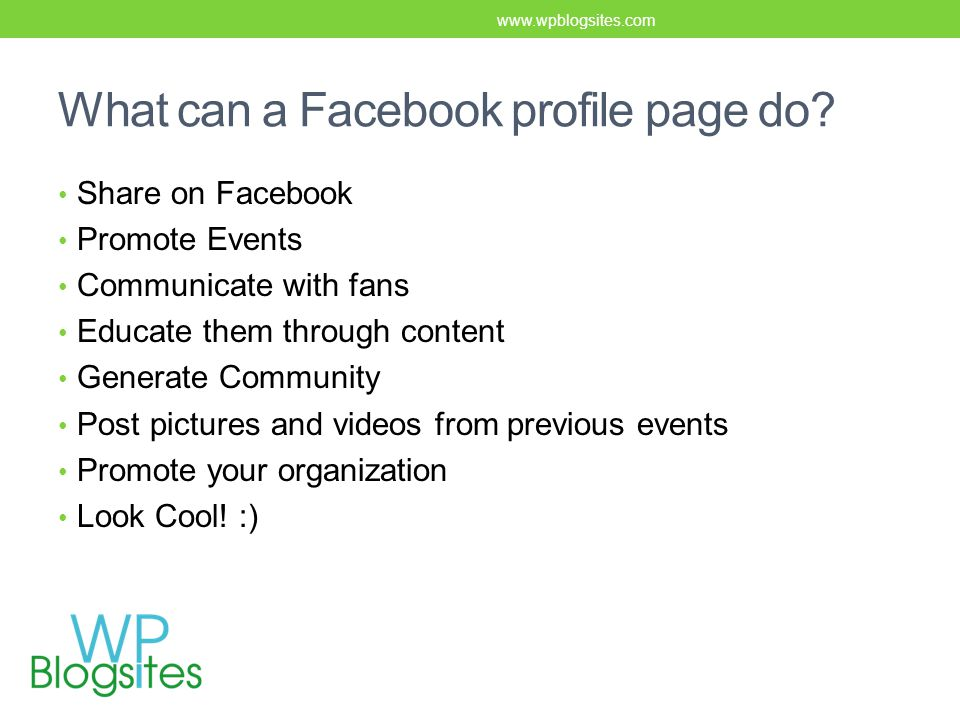 What can a Facebook profile page do.
