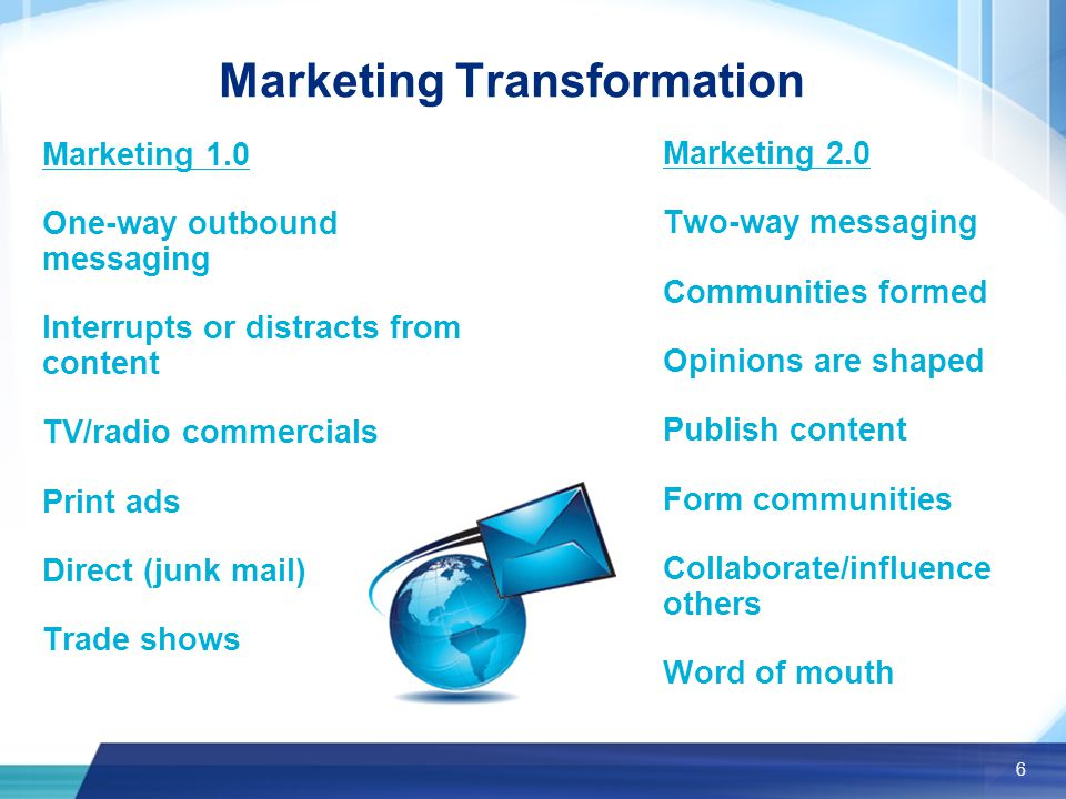 6 Marketing Transformation Marketing 1.0 One-way outbound messaging Interrupts or distracts from content TV/radio commercials Print ads Direct (junk mail) Trade shows Marketing 2.0 Two-way messaging Communities formed Opinions are shaped Publish content Form communities Collaborate/influence others Word of mouth