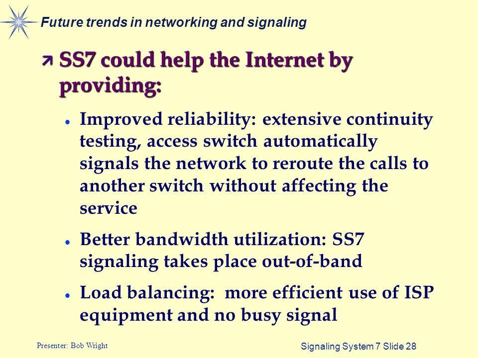 Signaling System 7 Slide 1 Presenter: Bob Wright Signaling