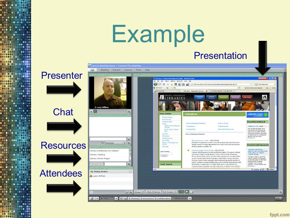 Example Presenter Chat Resources Attendees Presentation