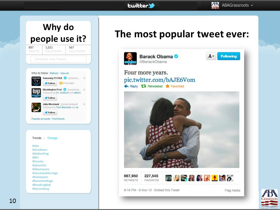 Why do people use it The most popular tweet ever: 10