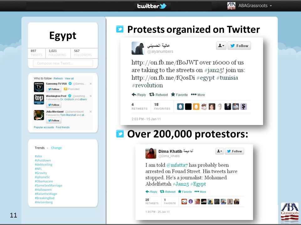 Egypt Protests organized on Twitter Over 200,000 protestors: 11