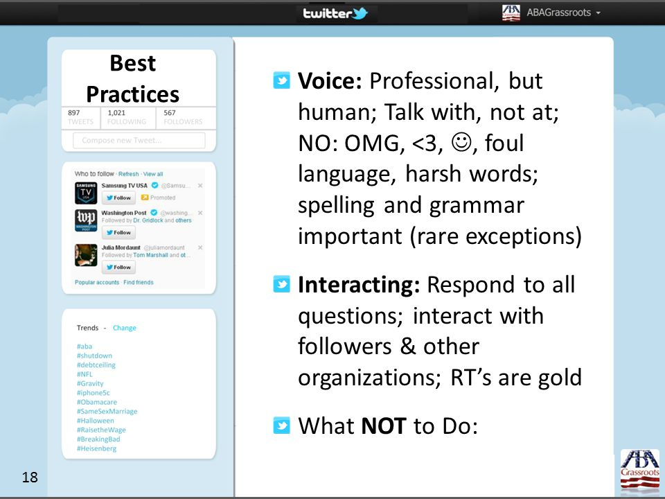 Voice: Professional, but human; Talk with, not at; NO: OMG, <3,, foul language, harsh words; spelling and grammar important (rare exceptions) Interacting: Respond to all questions; interact with followers & other organizations; RT's are gold What NOT to Do: Best Practices 18