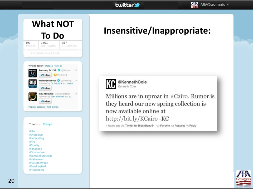 Insensitive/Inappropriate: What NOT To Do 20