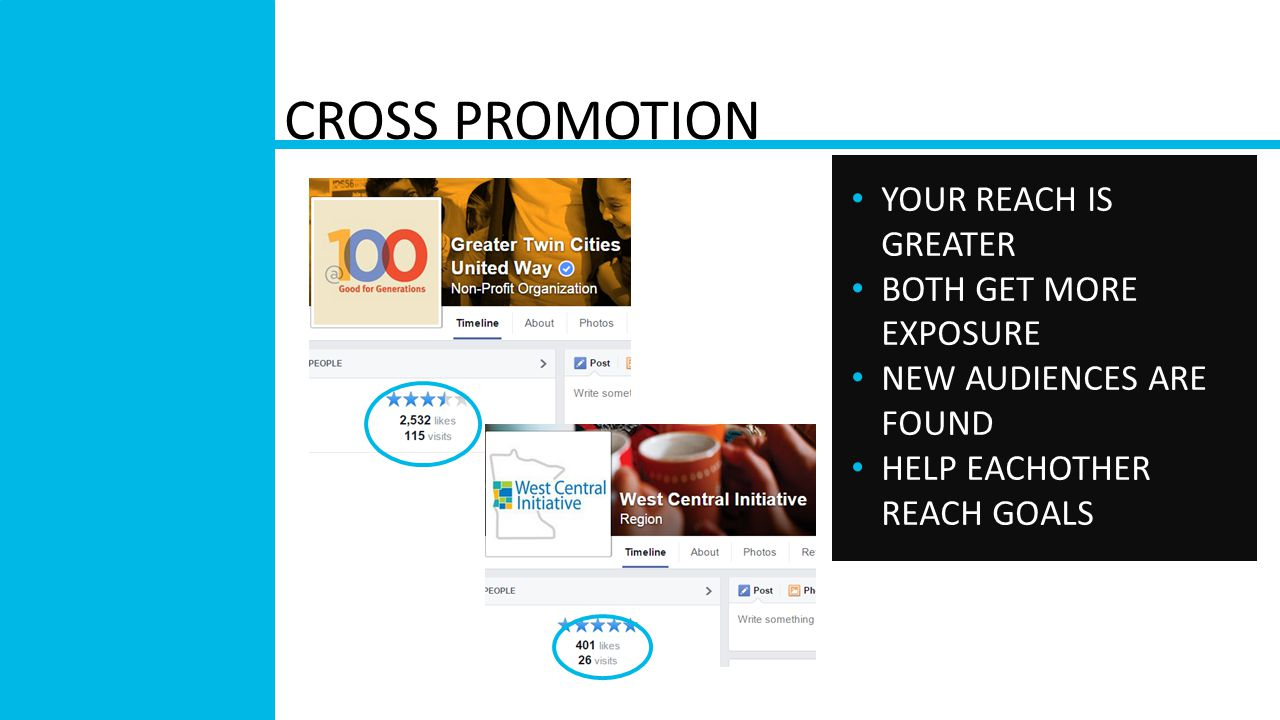 CROSS PROMOTION YOUR REACH IS GREATER BOTH GET MORE EXPOSURE NEW AUDIENCES ARE FOUND HELP EACHOTHER REACH GOALS