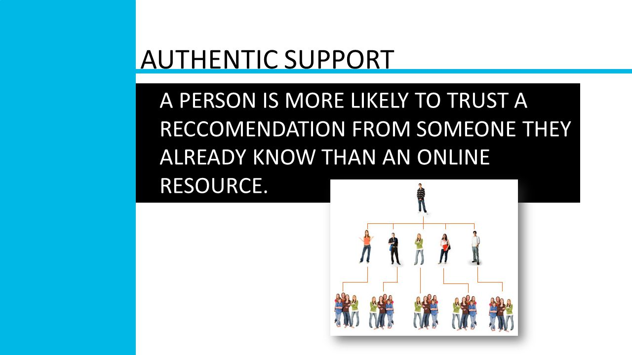AUTHENTIC SUPPORT A PERSON IS MORE LIKELY TO TRUST A RECCOMENDATION FROM SOMEONE THEY ALREADY KNOW THAN AN ONLINE RESOURCE.