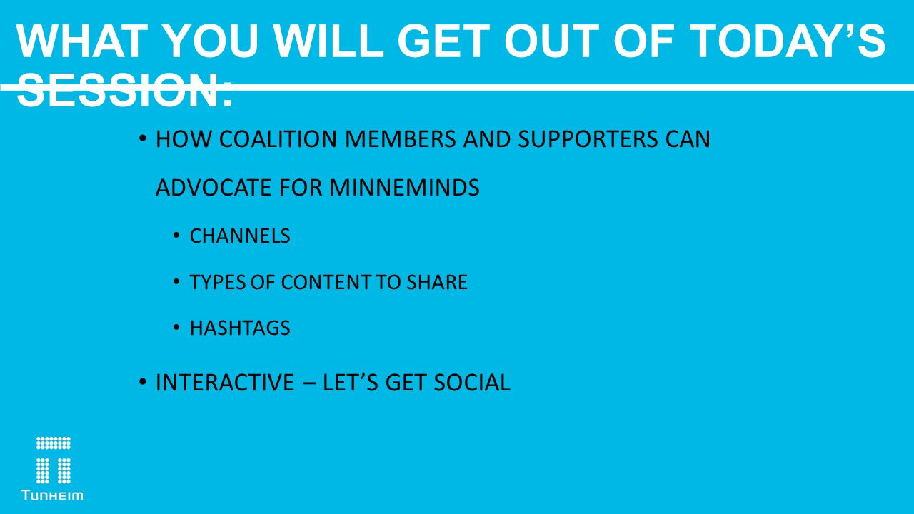 WHAT YOU WILL GET OUT OF TODAY'S SESSION: HOW COALITION MEMBERS AND SUPPORTERS CAN ADVOCATE FOR MINNEMINDS CHANNELS TYPES OF CONTENT TO SHARE HASHTAGS INTERACTIVE – LET'S GET SOCIAL