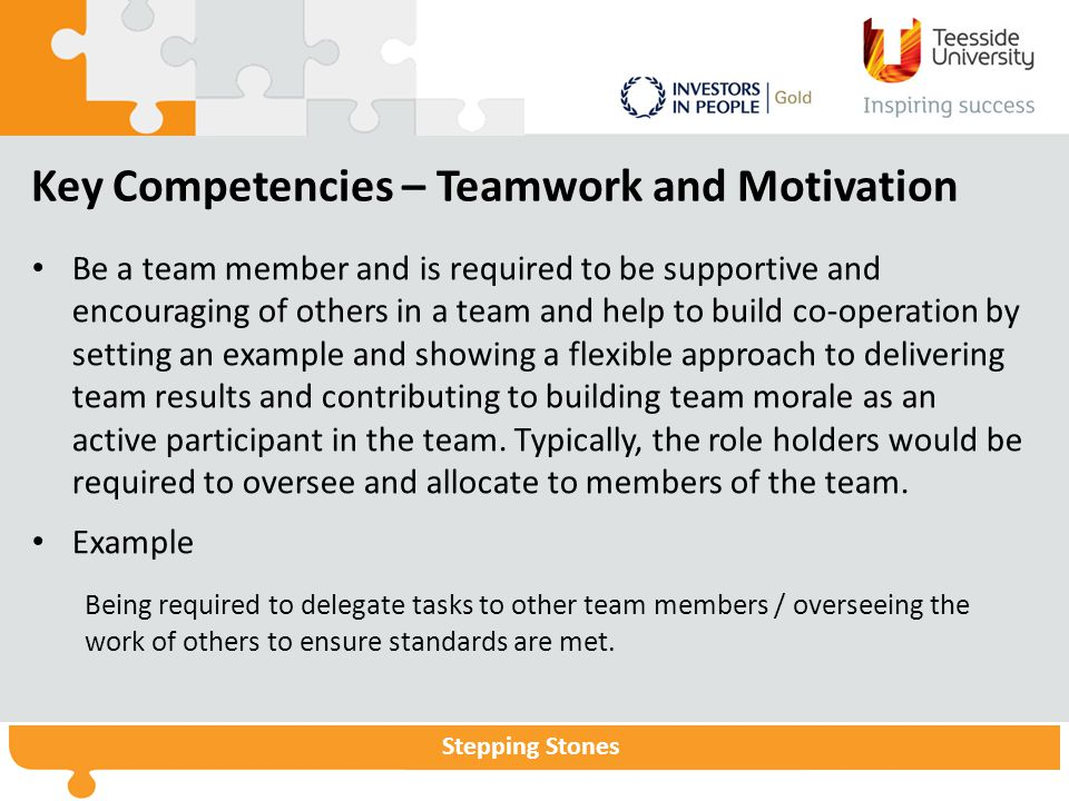Stepping Stones Key Competencies – Teamwork and Motivation Be a team member and is required to be supportive and encouraging of others in a team and help to build co-operation by setting an example and showing a flexible approach to delivering team results and contributing to building team morale as an active participant in the team.