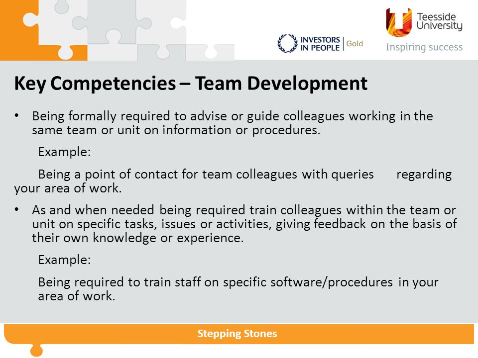 Stepping Stones Key Competencies – Team Development Being formally required to advise or guide colleagues working in the same team or unit on information or procedures.
