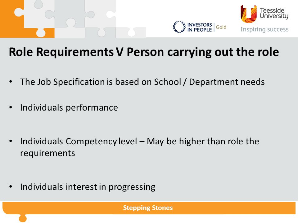 Stepping Stones Role Requirements V Person carrying out the role The Job Specification is based on School / Department needs Individuals performance Individuals Competency level – May be higher than role the requirements Individuals interest in progressing