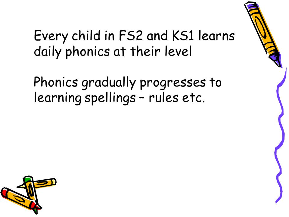 Every child in FS2 and KS1 learns daily phonics at their level Phonics gradually progresses to learning spellings – rules etc.