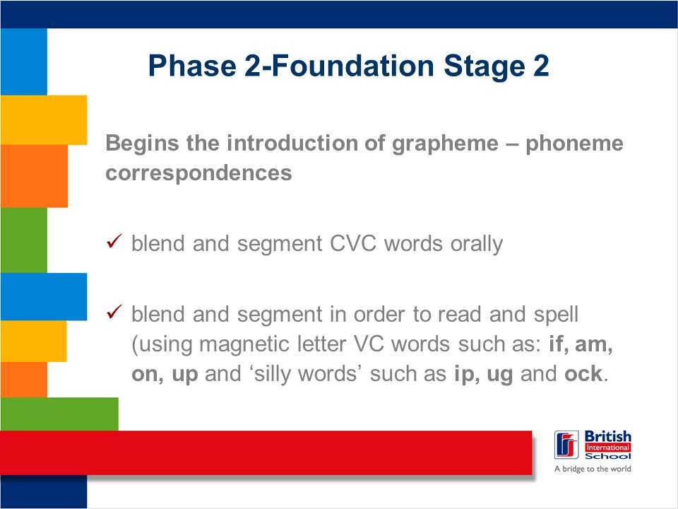 Phase 2-Foundation Stage 2 Begins the introduction of grapheme – phoneme correspondences blend and segment CVC words orally blend and segment in order to read and spell (using magnetic letter VC words such as: if, am, on, up and 'silly words' such as ip, ug and ock.