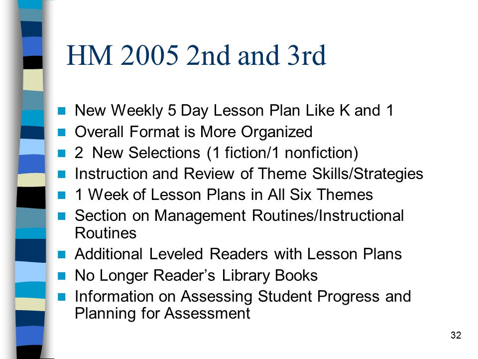 32 HM nd and 3rd New Weekly 5 Day Lesson Plan Like K and 1 Overall Format is More Organized 2 New Selections (1 fiction/1 nonfiction) Instruction and Review of Theme Skills/Strategies 1 Week of Lesson Plans in All Six Themes Section on Management Routines/Instructional Routines Additional Leveled Readers with Lesson Plans No Longer Reader's Library Books Information on Assessing Student Progress and Planning for Assessment