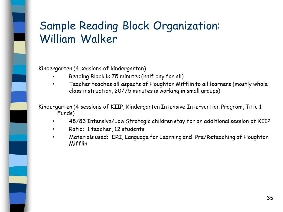 35 Sample Reading Block Organization: William Walker Kindergarten (4 sessions of kindergarten) Reading Block is 75 minutes (half day for all) Teacher teaches all aspects of Houghton Mifflin to all learners (mostly whole class instruction, 20/75 minutes is working in small groups) Kindergarten (4 sessions of KIIP, Kindergarten Intensive Intervention Program, Title 1 Funds) 48/83 Intensive/Low Strategic children stay for an additional session of KIIP Ratio: 1 teacher, 12 students Materials used: ERI, Language for Learning and Pre/Reteaching of Houghton Mifflin
