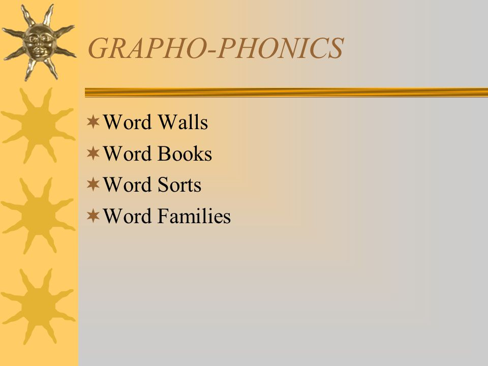 GRAPHO-PHONICS  Word Walls  Word Books  Word Sorts  Word Families