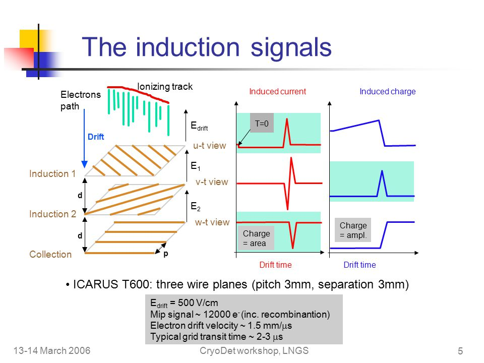 13-14 March 2006CryoDet workshop, LNGS 5 The induction signals ICARUS T600: three wire planes (pitch 3mm, separation 3mm) d d p Electrons path Drift Ionizing track T=0 Induced current Induced charge u-t view v-t view w-t view E drift E2E2 E1E1 Drift time E drift = 500 V/cm Mip signal ~ e - (inc.