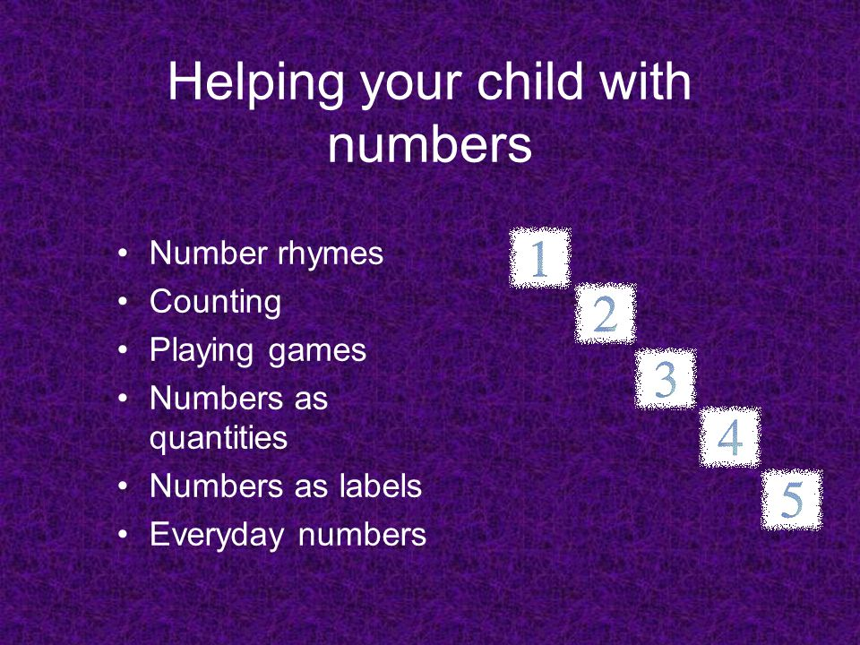 Helping your child with numbers Number rhymes Counting Playing games Numbers as quantities Numbers as labels Everyday numbers