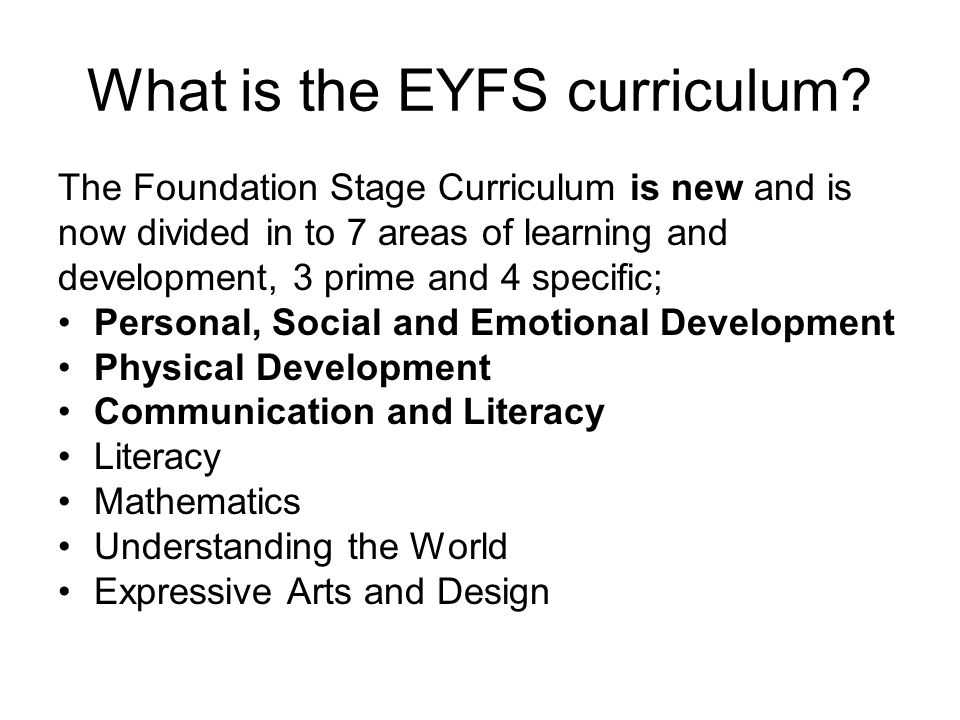 What is the EYFS curriculum.