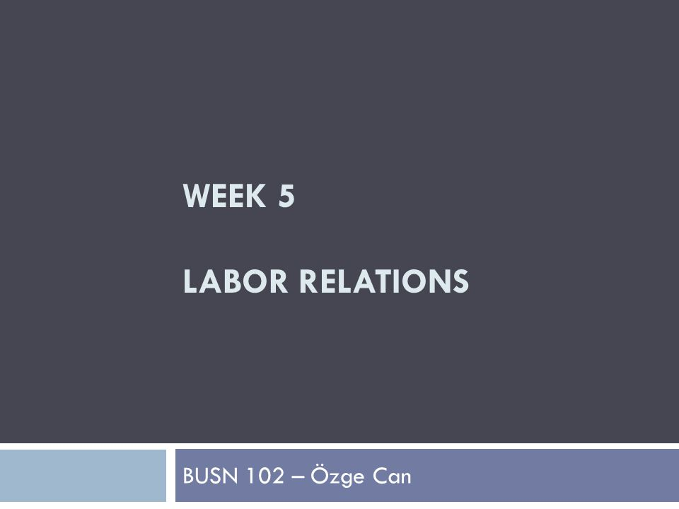 WEEK 5 LABOR RELATIONS BUSN 102 – Özge Can