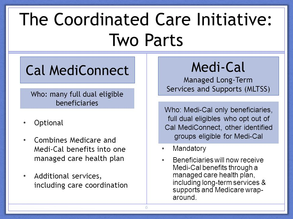 Cal MediConnect Optional Combines Medicare and Medi-Cal benefits into one managed care health plan Additional services, including care coordination Medi-Cal Managed Long-Term Services and Supports (MLTSS) 6 The Coordinated Care Initiative: Two Parts Mandatory Beneficiaries will now receive Medi-Cal benefits through a managed care health plan, including long-term services & supports and Medicare wrap- around.