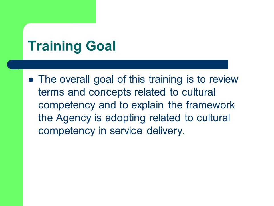 Training Goal The overall goal of this training is to review terms and concepts related to cultural competency and to explain the framework the Agency is adopting related to cultural competency in service delivery.