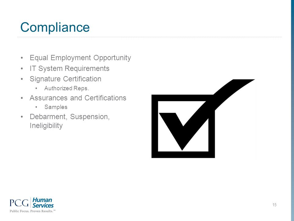 Compliance 15 Equal Employment Opportunity IT System Requirements Signature Certification Authorized Reps.