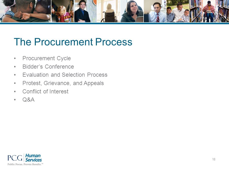 The Procurement Process Procurement Cycle Bidder's Conference Evaluation and Selection Process Protest, Grievance, and Appeals Conflict of Interest Q&A 18