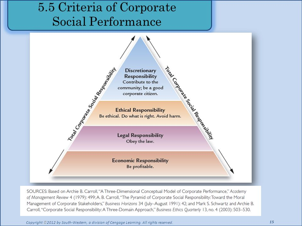 55 Criteria Of Corporate Social Performance Copyright C2012 By South Western A Division