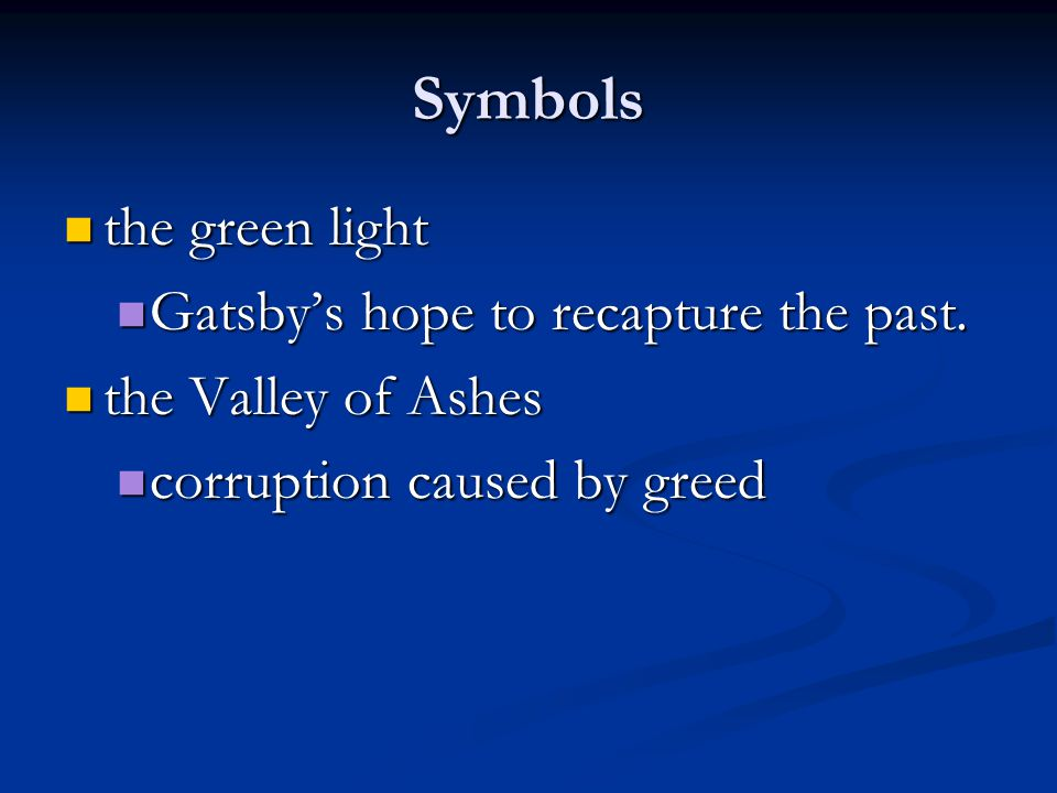 what are some symbols in the great gatsby