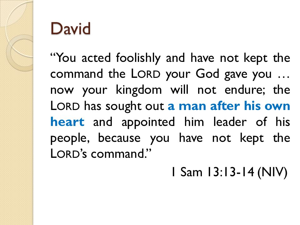 David You acted foolishly and have not kept the command the L ORD your God gave you … now your kingdom will not endure; the L ORD has sought out a man after his own heart and appointed him leader of his people, because you have not kept the L ORD 's command. 1 Sam 13:13-14 (NIV)