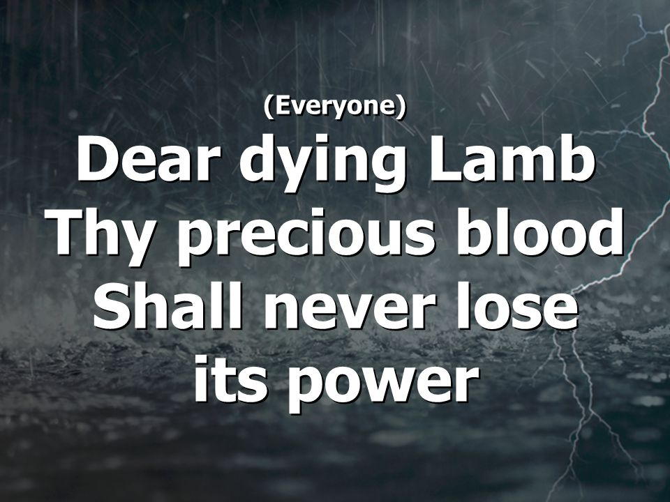 (Everyone) Dear dying Lamb Thy precious blood Shall never lose its power